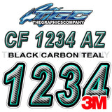 Black Carbon with Teal Boat Registration Numbers