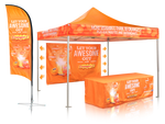 Outdoor Bundle 10X10-Fully Printed Canopy Flag and Stretch Table Cover