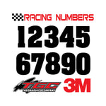 Racing Numbers Vinyl Decals Stickers Aardvark 3 pack