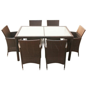 Outdoor Dining Set 13 Piece Poly Rattan Wicker Brown Seater Glass Table