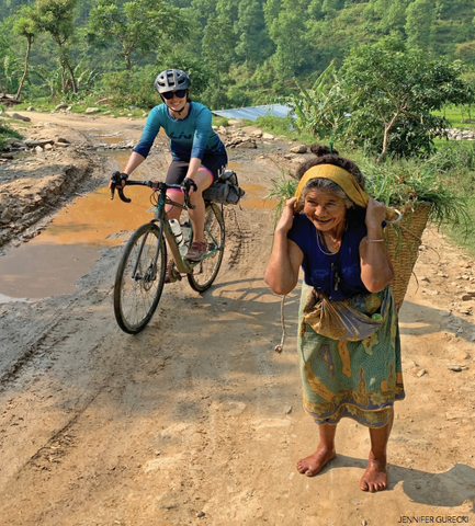 Roz Groenewoud and a local Nepalese woman are all smiles.