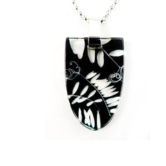 Black Vetch Pendant, Recycled Plastic and silver
