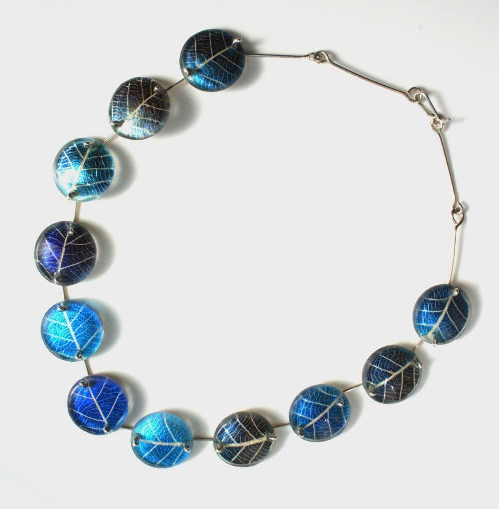 New Design. Turquoise Silver Leaf Necklace.