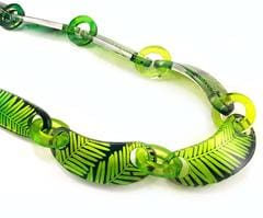 Tropical Night Green Conifer Leaf Perspex Chain