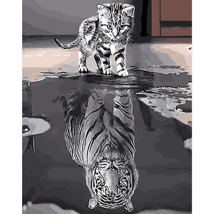 DIY Painting By Numbers - Cat Tiger Reflection