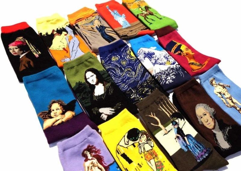Vintage Art Socks The Starry Night by Vincent van Gogh Mona Lisa by Leonardo da Vinci Great Wave Off Kanagawa by Katsushika Hokusai  The Scream by Edvard Munch Angels by Raphael The Birth of Venus by Sandro Botticelli David by Michelangelo  Statue of Liberty by Frédéric Auguste Bartholdi George Washington by Gilbert Stuart Red Boy by Goya The Old Guitarist by Pablo Picasso The Kiss by Gustav Klimt Nefertiti Bust by Thutmose Race Horses by Edgar Degas Girl with a Pearl Earring by Johannes Vermeer I and the Village by Marc Chagall Ia orana maria by Paul Gauguin A Sunday Afternoon on the Island of La Grande Jatte by Georges Seurat Luncheon on the Grass by Edouard Manet Moulin Rouge: La Goulue by Henri de Toulouse-Lautrec The Dance Studio by Edgar Degas