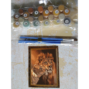 DIY Painting By Numbers - Lions