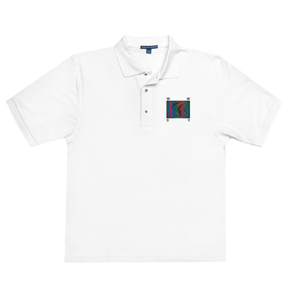W W B V Global Employee Uniform White Men's Premium Polo - World Wide Basement Vibes