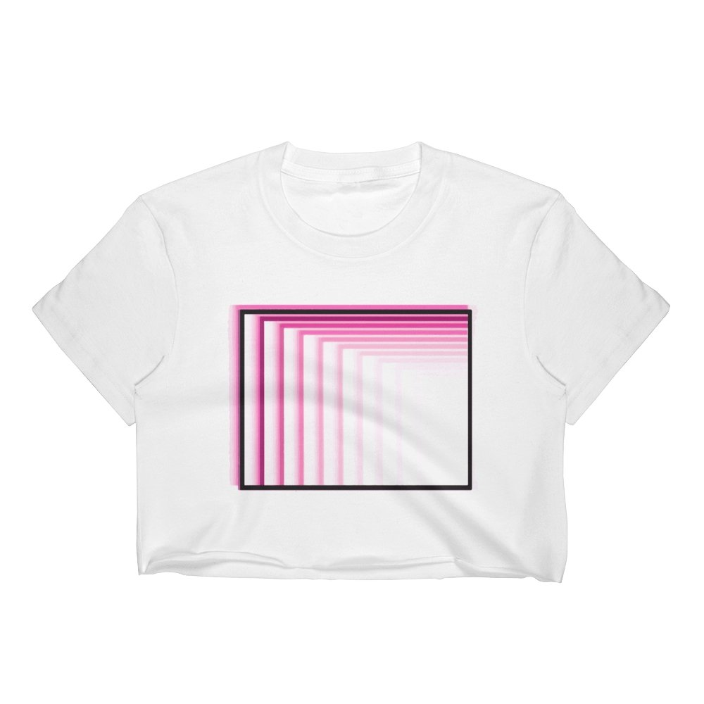 Enter the Basement Pink Logo Women's White Crop Top - World Wide Basement Vibes