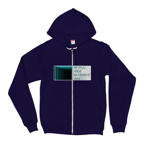 Blue Logo Zip American Apparel Unisex Hoodie sweater (5 color choices) - World Wide Basement Vibes