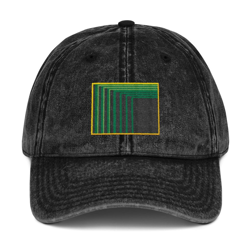 Skull Portal (Green Logo Embroidery) Black Vintage Cotton Twill Cap - World Wide Basement Vibes