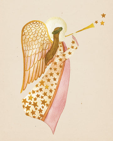 Folk Art Watercolor Print Download - Angel