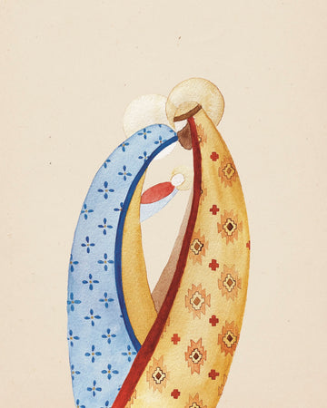 Folk Art Watercolor Print Download - Holy Family
