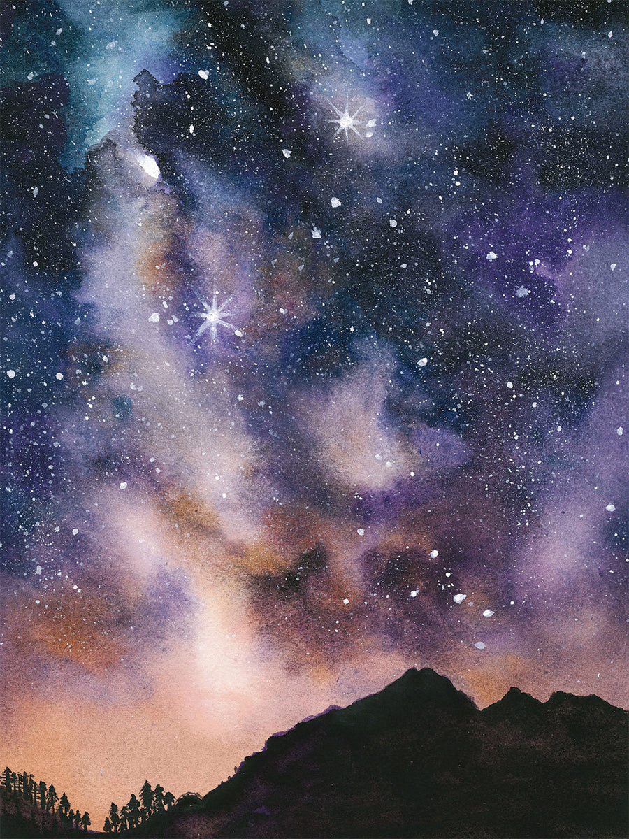 Starry Night Watercolor Print Download