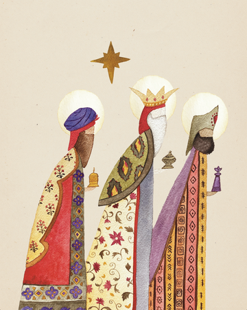 Folk Art Watercolor Print Download - Three Kings