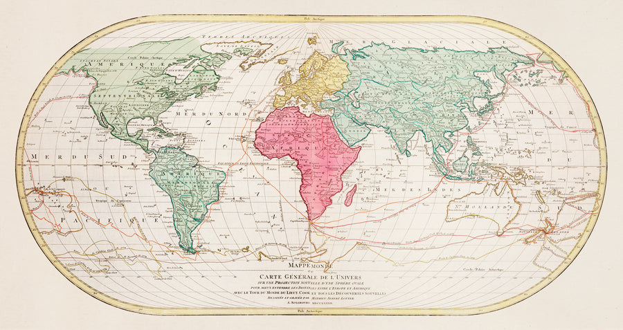 World Map Vintage Print Download