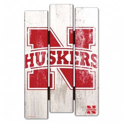Nebraska Cornhuskers Wood Fence Sign