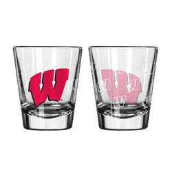 Wisconsin Badgers Shot Glass - 2 Pack Satin Etch