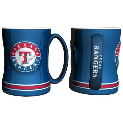 Texas Rangers Coffee Mug - 14oz Sculpted Relief - Blue