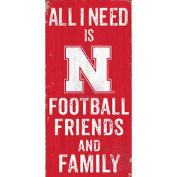 Nebraska Cornhuskers Sign Wood 6x12 Football Friends and Family Design Color