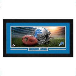 Detroit Lions Print 13x7 Framed Helmet in Stadium Design