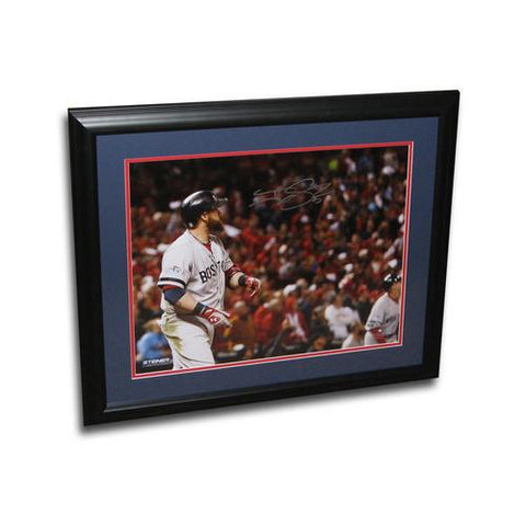 Autographed Jonny Gomes 16-by-20 inch framed 2013 World Series photo.
