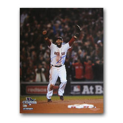 Autographed Dustin Pedroia 2013 World Series Unframed 16x20 last out celebration photo.