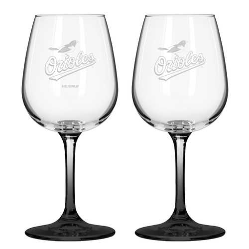 Set of two 12oz wine glasses Baltimore Orioles