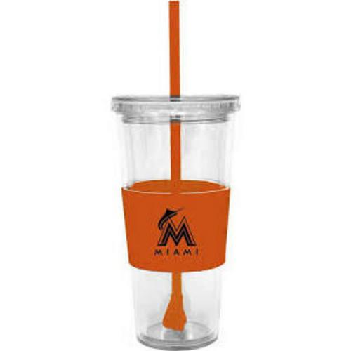 MLB Miami Marlins 22 Ounce Insulated Tumbler With Rubber Sleeve And Stir Straw