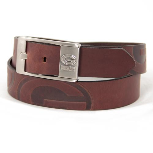 Green Bay Packers NFL Men's Embossed Leather Belt (Size 32)