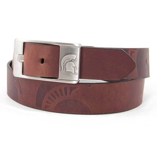 Michigan State Spartans NCAA Men's Embossed Leather Belt (Size 42)
