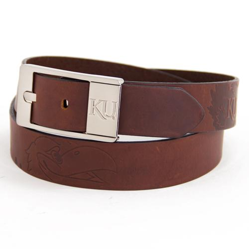 Kansas Jayhawks NCAA Brandish Leather Belt Size 32