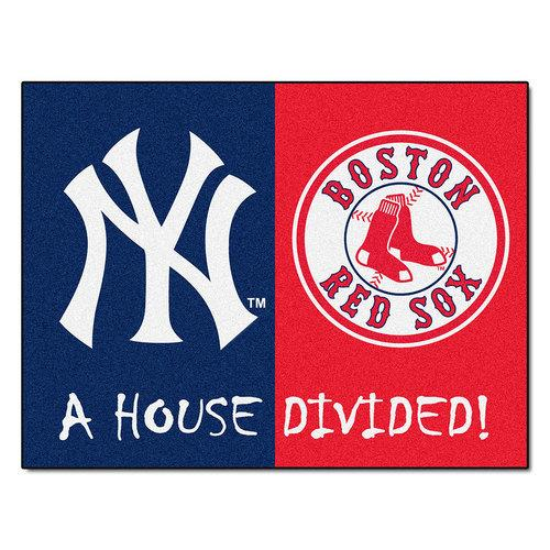 "Yankees / Red Sox  MLB House Divided NFL All-Star"" Floor Mat (34""x45"")"""