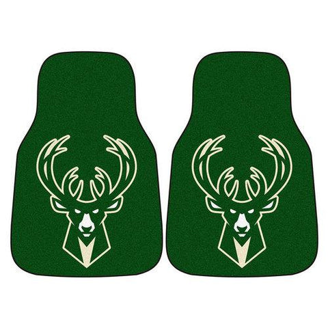 Milwaukee Bucks NBA 2-Piece Printed Carpet Car Mats (18x27)