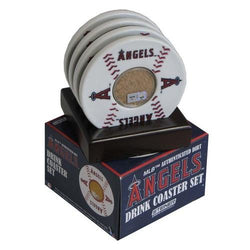 2010 Game Used Dirt In Los Angeles Angels Logo Set of 4 Coasters (MLB Authenticated)