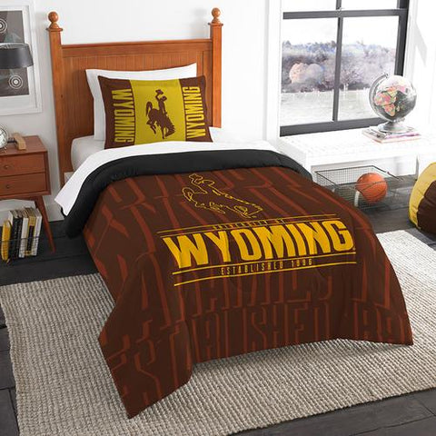 Wyoming Cowboys NCAA Twin Comforter Set (Modern Take Series) (64 x 86