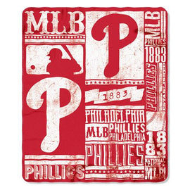 Philadelphia Phillies MLB Light Weight Fleece Blanket (Strength Series) (50inx60in)
