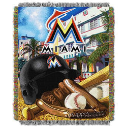 Miami Marlins MLB Woven Tapestry Throw (Home Field Advantage) (48x60