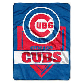 Chicago Cubs MLB Royal Plush Raschel Blanket (Home Plate Series) (60x80)