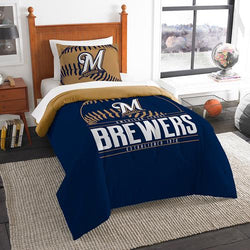 Milwaukee Brewers MLB Twin Comforter Set (Grand Slam Series) (64 x 86