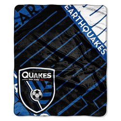San Jose Earthquakes MLS Royal Plush Raschel Blanket (Scramble Series) (50x60