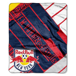 New York Red Bulls MLS Royal Plush Raschel Blanket (Scramble Series) (50x60