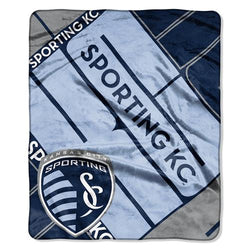 Sporting Kansas City MLS Royal Plush Raschel Blanket (Scramble Series) (50x60