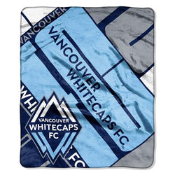 Vancouver WhiteCaps FC MLS Royal Plush Raschel Blanket (Scramble Series) (50x60
