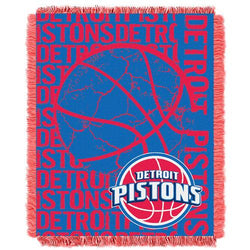 Detroit Pistons NBA Triple Woven Jacquard Throw (Double Play Series) (48x60