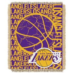 Los Angeles Lakers NBA Triple Woven Jacquard Throw (Double Play Series) (48x60