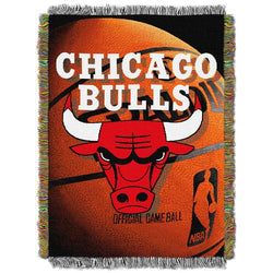 Chicago Bulls NBA Woven Tapestry Throw Blanket (48x60
