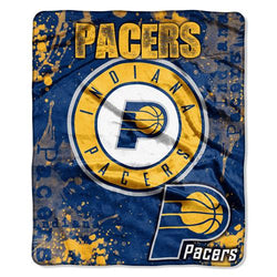 Indiana Pacers NBA Royal Plush Raschel Blanket (Dropdown Series) (50in x 60in)