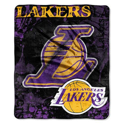 Los Angeles Lakers NBA Royal Plush Raschel Blanket (Drop Down Series) (50x60
