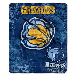 Memphis Grizzlies NBA Royal Plush Raschel Blanket (Drop Down Series) (50x60
